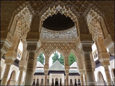 Patios de los Leones en la Alhambra de Granada